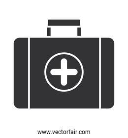 kit aid first medical equipment, silhouette icon design
