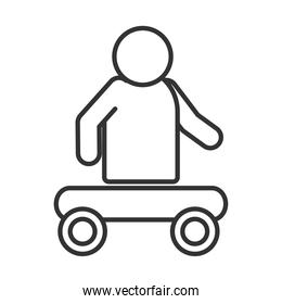 person without legs sitting in cart, world disability day, linear icon design