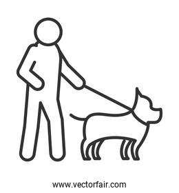 blind person walking with dog, world disability day, linear icon design