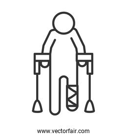 person with crutches and leg cast, world disability day, linear icon design