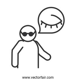 blind person with glasses, world disability day, linear icon design