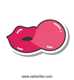 pop art mouth and lips, female lips with gum bubble, line and fill icon