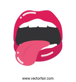 pop art mouth and lips, cartoon glossy lips tongue out, flat icon design