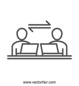 people employee with laptop, coworking office business workspace, line icon design