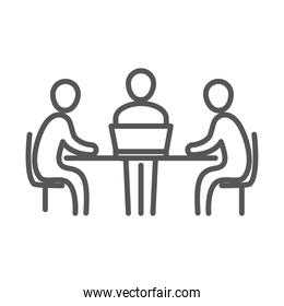 meeting people at the desk with laptop, coworking office business workspace, line icon design