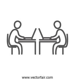 business people using laptop in the desks, coworking office workspace, line icon design