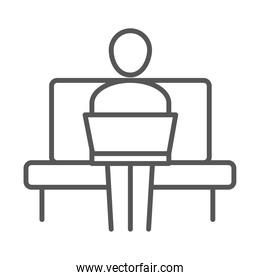 businessman sitting on sofa with laptop, business work office, line icon design