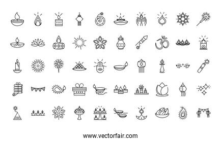 happy diwali india festival, deepavali religion celebration event line style icons vector