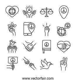 human rights day, line icons set design, included hands heart book dove