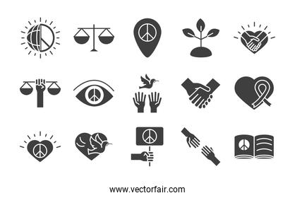 human rights day, line icons set design, included peace heart world flag
