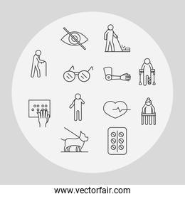 world disability day, medical orthopedic and medicine equipment, linear icons set design