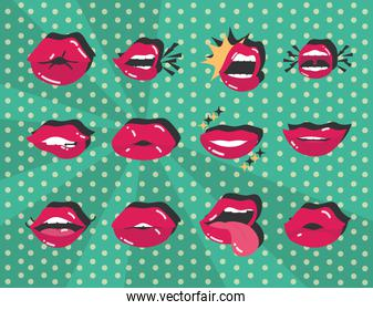 pop art mouth and lips sexy female collection flat icon design