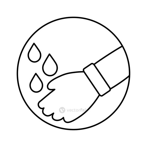 hands washing with water icon
