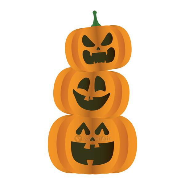 halloween pumpkins faces pile tower icon
