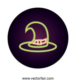 happy halloween, witch hat with strap trick or treat party celebration neon icon style