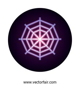 spider web icon on white background neon icon style design