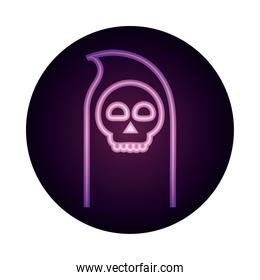 happy halloween, death skull trick or treat party celebration neon icon style