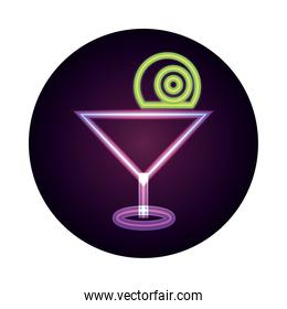 happy halloween, cocktail with spooky eye trick or treat party celebration neon icon style