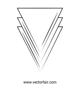 minimalist tattoo boho abstract triangles line art icon over white background