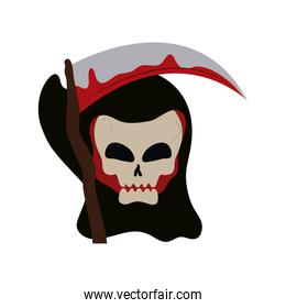 happy halloween, death skull scythe blood trick or treat party celebration flat icon style
