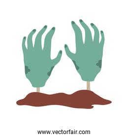 happy halloween, zombie hands trick or treat party celebration flat icon style