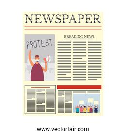 news paper communication with man protest wearing medical mask