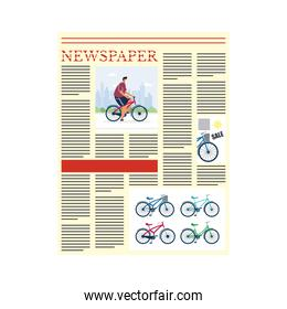 news paper communication with man in bicycle