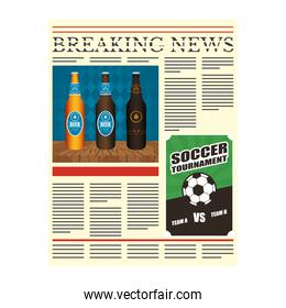 news paper with beers drink and soccer