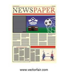news paper with soccer and social distancing