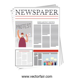 news paper with man and group of people protesting