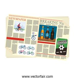 news papers open with beers drink and soccer