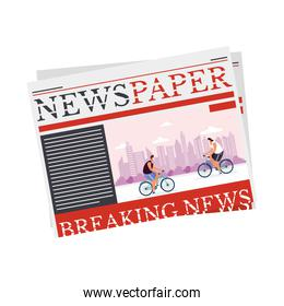 news paper communication with bicycles sport
