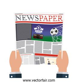 person reading news paper with soccer and social distancing
