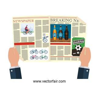 person reading news paper with beers and soccer