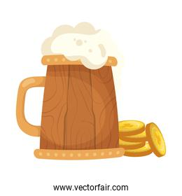 saint patrick celebration beer in wooden jar and coins