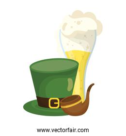 saint patrick celebration beer in glass with elf hat and pipe