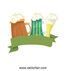 saint patrick celebration beers in wooden jars and glass ribbon frame