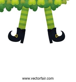 saint patrick leprechaun legs with boots and clovers