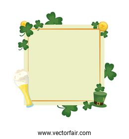 saint patrick leafs and beer square frame