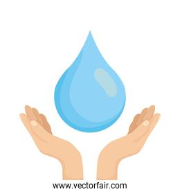 hands with water drop liquid icon