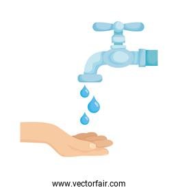 hand with water tap faucet and drops