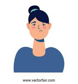 young woman sick colorful avatar character