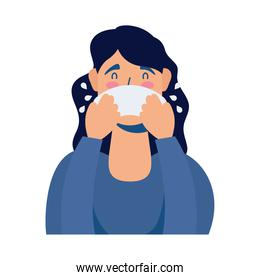 young woman sick with runny nose avatar character