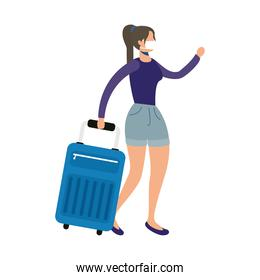 woman wearing medical mask with suitcase character