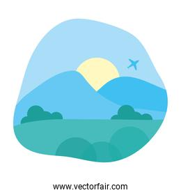 beautiful landscape with airplane flying scene