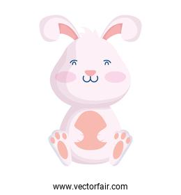 cute easter little rabbit seated character
