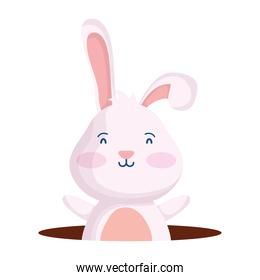 cute easter little rabbit in hole character