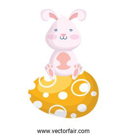 cute easter little rabbit seated in egg painted character