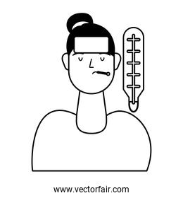 young woman sick with fever and thermometer
