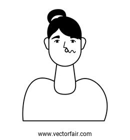 woman sick with flu avatar character